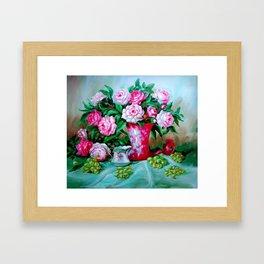 Still Life Fresh Flowers and Grapes Framed Art Print