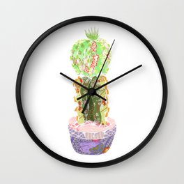 Papercraft Cactus in Green Wall Clock
