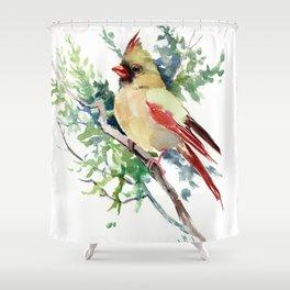 Cardinal Bird Artwork, female cardinal bird Shower Curtain