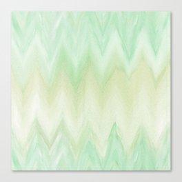 Hand painted mint green watercolor gradient chevron ikat Canvas Print