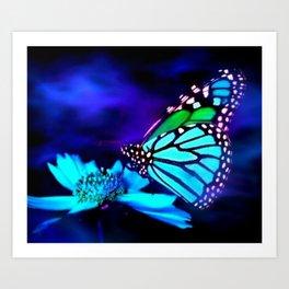 Butterfly in blue light Art Print