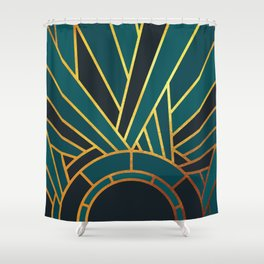 Art Deco Sunset In Teal Shower Curtain