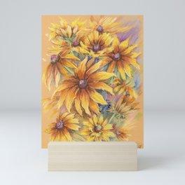 Rudbeckia Bouquet Floral pastel drawing Still life Mini Art Print