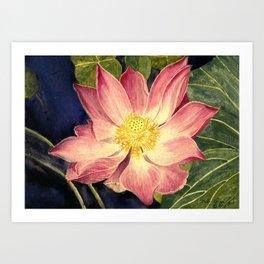 Big Lotus Watercolor Art Print