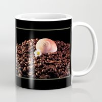 cafe Mugs featuring BROWN CAFE by Karl-Heinz Lüpke