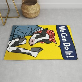 We can do it! Rosie the Riveter Vegan Cow Rug