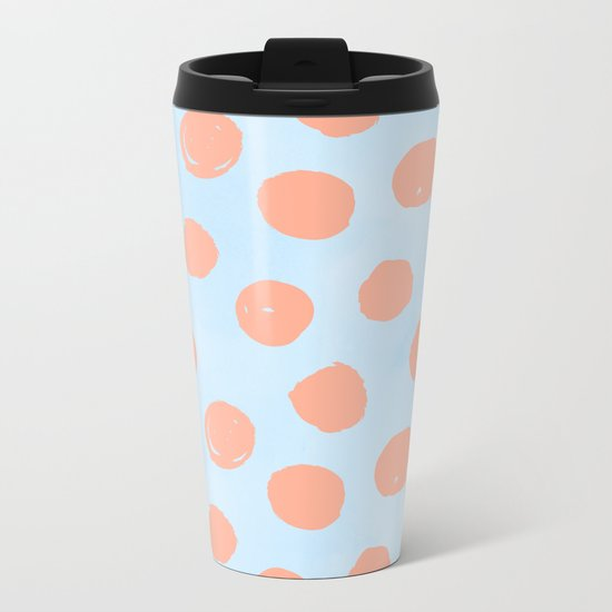 Sweet Life Dots Peach Coral Pink + Blue Raspberry Metal Travel Mug
