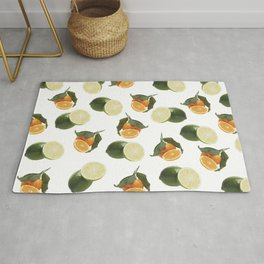 Lime and Clementine Fruits Pattern on White Background Rug