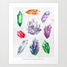 Watercolor Crystals Art Print