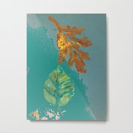 Two leaves, painted acrylic Metal Print