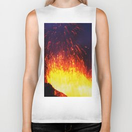 Eruption volcano - fountain, fireworks lava erupting from crater Biker Tank