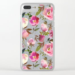 Gray blush pink coral yellow hand painted floral Clear iPhone Case