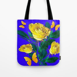 ROSES & YELLOW BUTTERFLIES INDIGO PURPLE VIGNETTE ABSTRACT Tote Bag