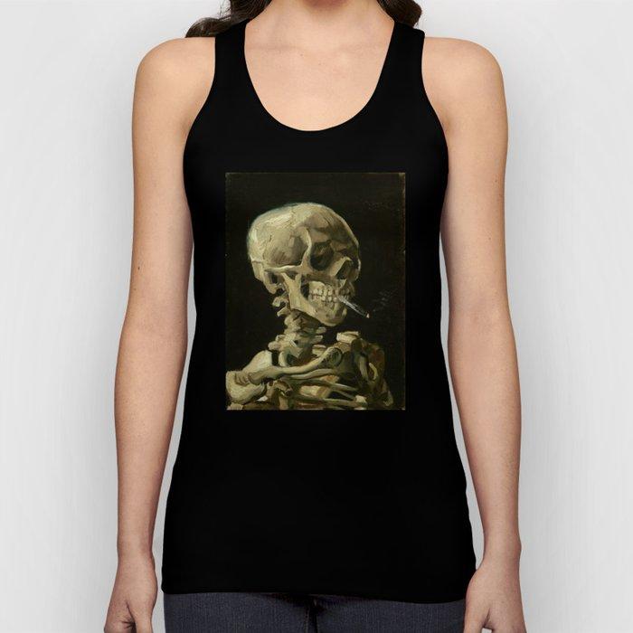 Vincent van Gogh - Skull of a Skeleton with Burning Cigarette Unisex Tank Top