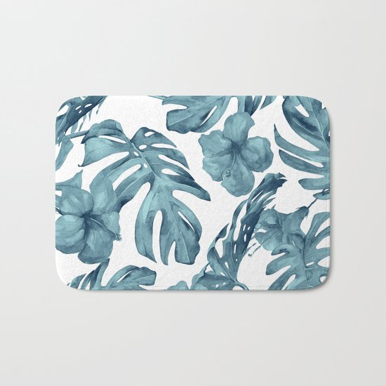Teal Blue Tropical Palm Leaves Flowers Bath Mat