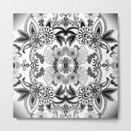 Black Paisley Metal Print