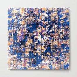 psychedelic geometric square pattern abstract background in blue pink purple Metal Print