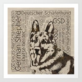 German Shepherd Dog - Wooden Texture  on Canvas Art Print