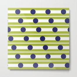 Geometric Stripe and Spot Green & Blue Metal Print