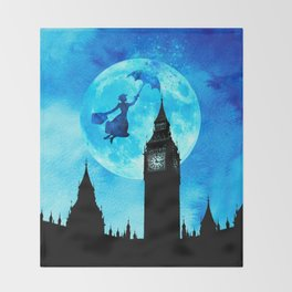 Magical Watercolor Night - Mary Poppins Throw Blanket