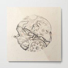 Sun wolf, moon wolf Metal Print