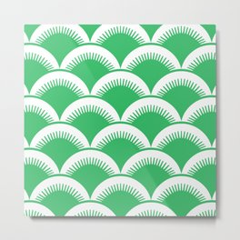 Japanese Fan Pattern Green Metal Print