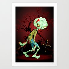 Zombie Creepy Monster Cartoon on Cemetery Art Print