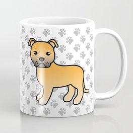 Fawn English Staffordshire Bull Terrier Cartoon Dog Coffee Mug