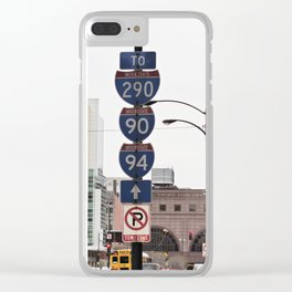 Sign posts Interstate - Chicago Clear iPhone Case