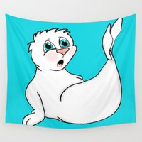 seal Wall Tapestries featuring Surprised Seal by J&C Creations