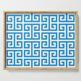 Bright Blue and White Greek Key Pattern Serving Tray