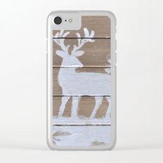 Wood slat deer in the snowy woods Clear iPhone Case
