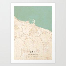 Bari, Italy - Vintage Map Art Print