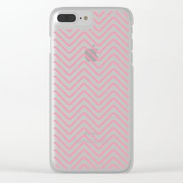 Pastel coral pink white abstract geometrical chevron Clear iPhone Case