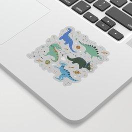 Dinosaurs in Space in Blue Sticker