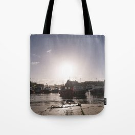 Sunrise over Newquay harbour Tote Bag