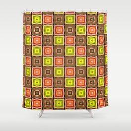 Bohemian Pixel Patchwork / Boho Hippie Shower Curtain