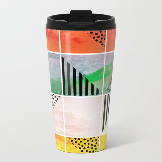 Mosaic Abstract coral Metal Travel Mug