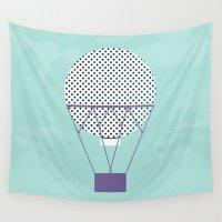 hot air balloon Wall Tapestries featuring PURPLE HOT AIR BALLOON by Allyson Johnson