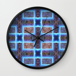 geometric ink blot and smudge ancient techno geek pattern Wall Clock