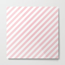 Light Millennial Pink Pastel and White Candy Cane Stripes Metal Print