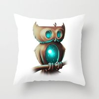 owl Throw Pillows featuring Night Owl by Chump Magic