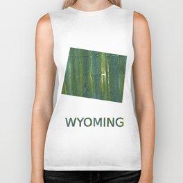 Wyoming map outline Deep moss green watercolor Biker Tank