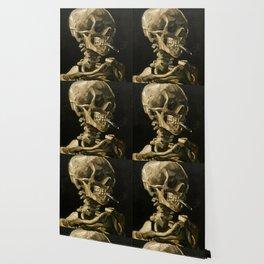 Skull Of A Skeleton With Burning Cigarette Wallpaper