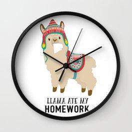 Llama ate my homework Wall Clock
