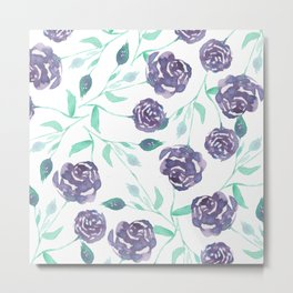 Purple Rose Bush Metal Print