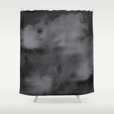 Black and white abstract clouds Shower Curtain