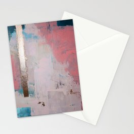 Morning Light: a minimal abstract mixed-media piece in pink gold and blue by Alyssa Hamilton Art Stationery Cards