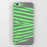 stripes iPhone & iPod Skins featuring Green & Gray Stripes by 2sweet4words Designs