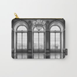 Giant French castle windows antique Paris ballroom hall and chandelier baroque wall mural background Carry-All Pouch